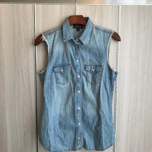 Topshop sleeveless blue denim top w pockets NWT